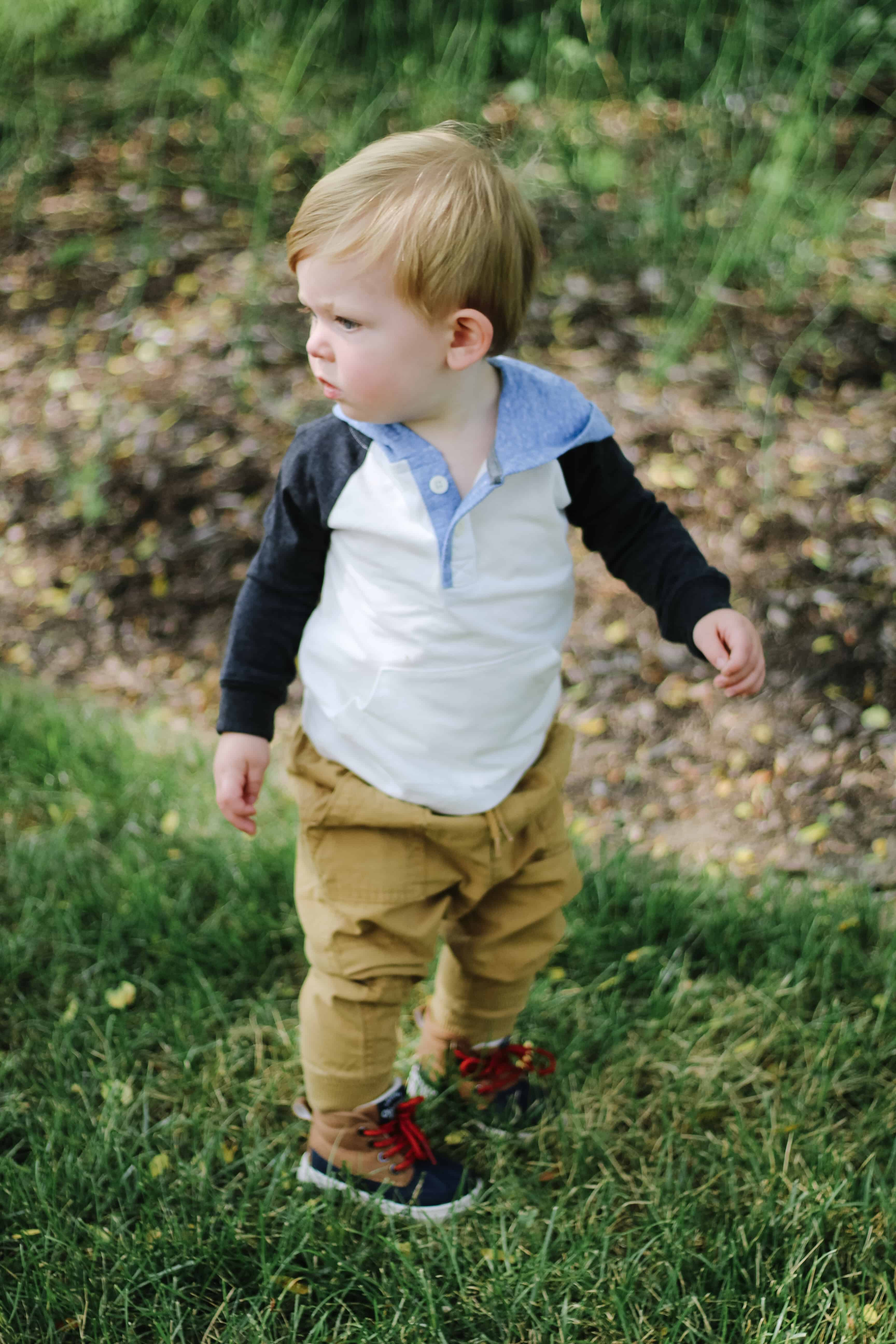 baby boy In OshKosh outfit
