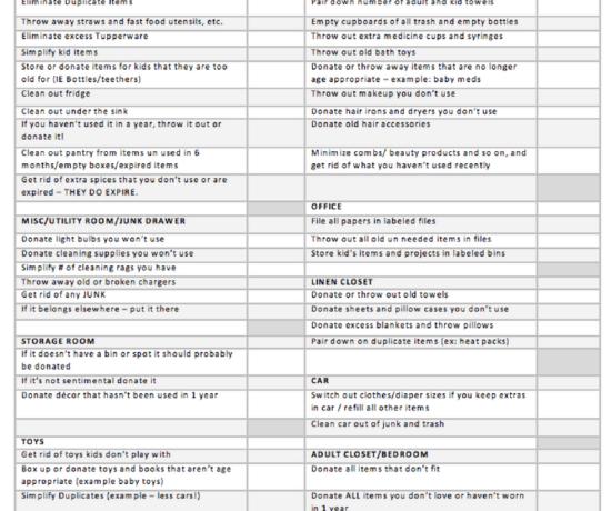 free decluttering checklist