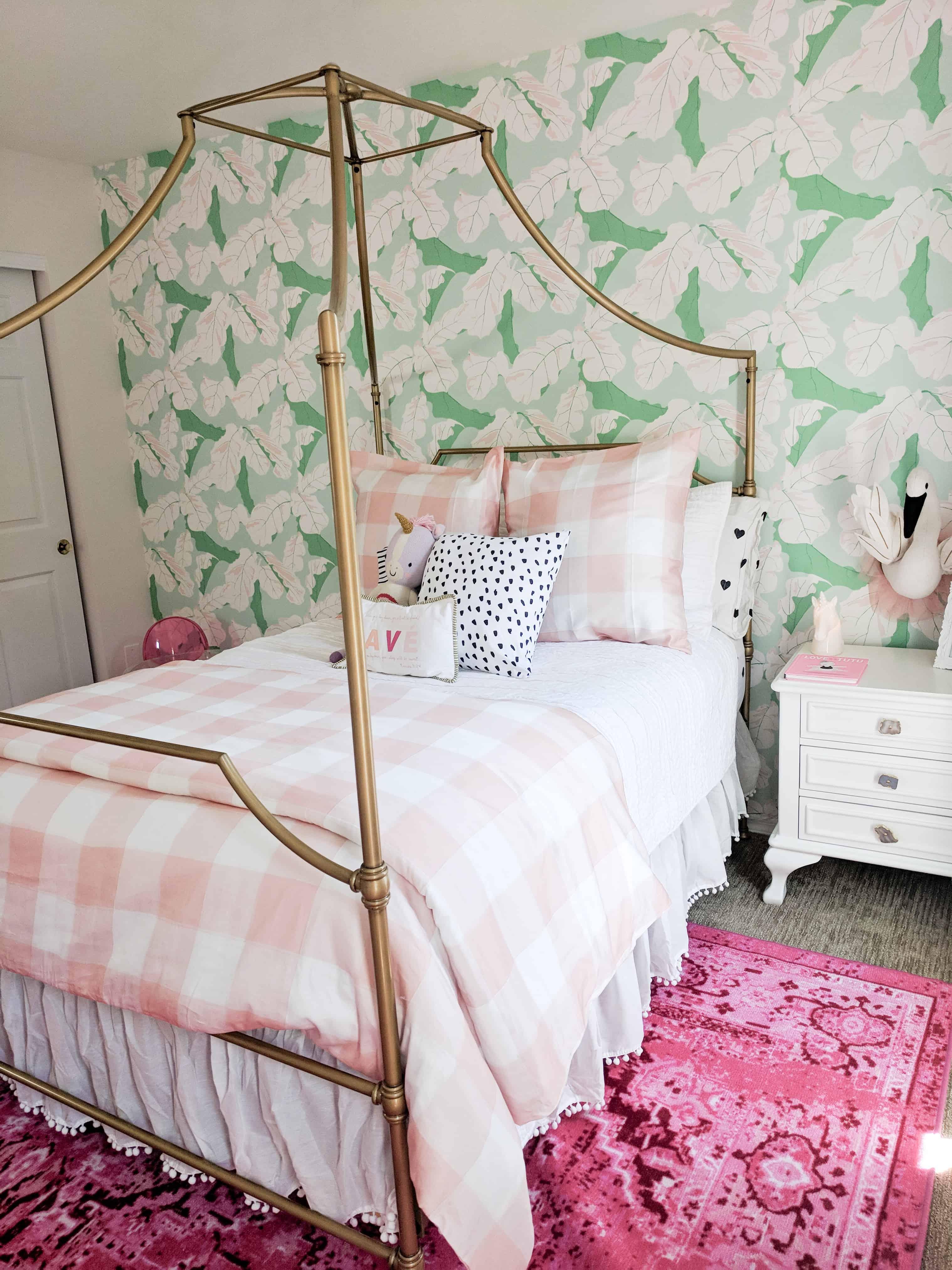 blush gingham bedding in toddler girl room