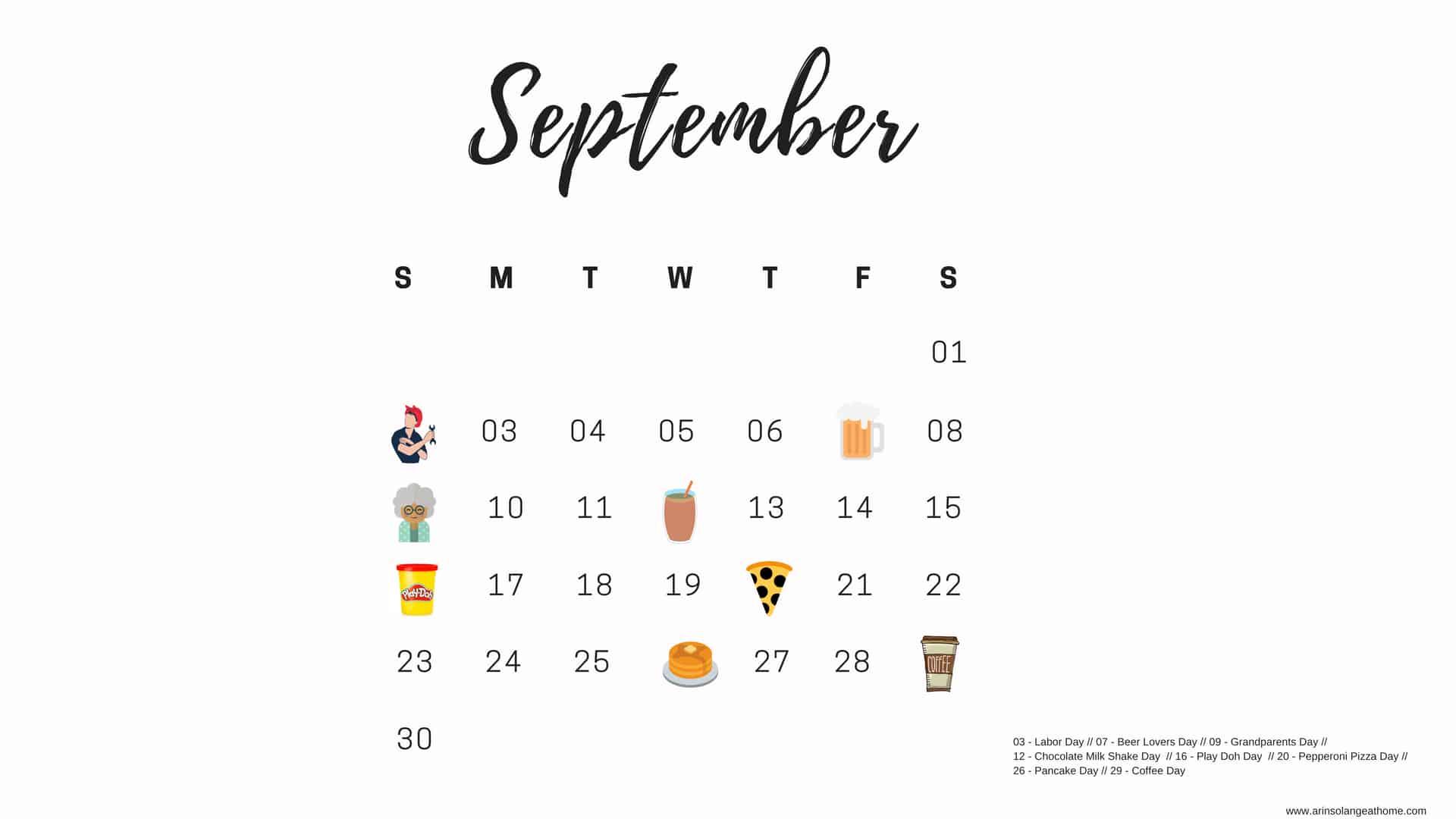 September Monthly Days Calendar