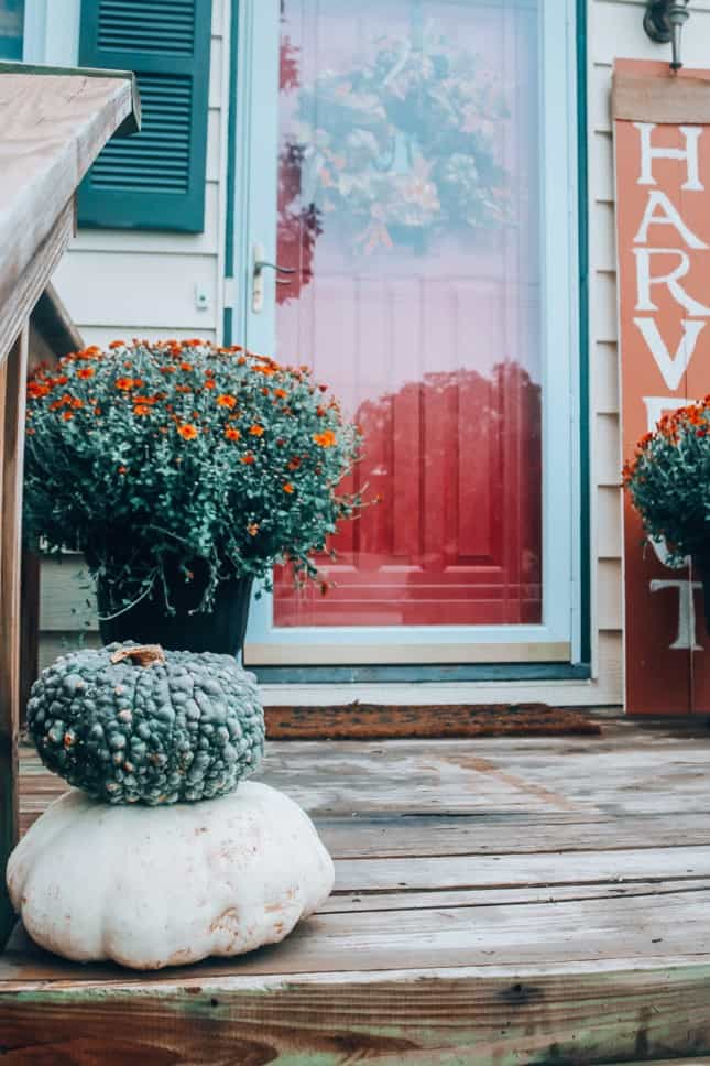 red door fall front porch