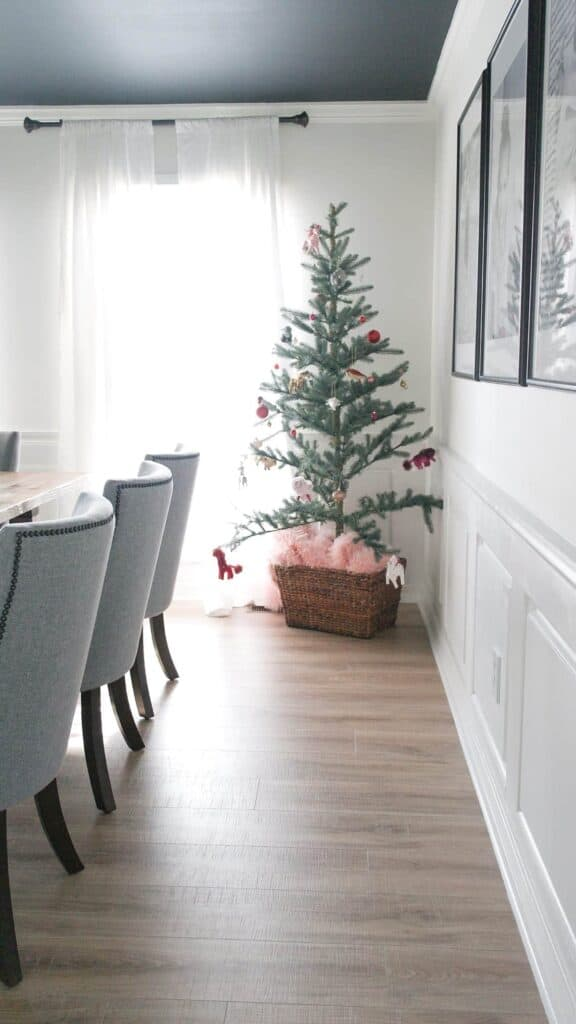 small Christmas tree in basket