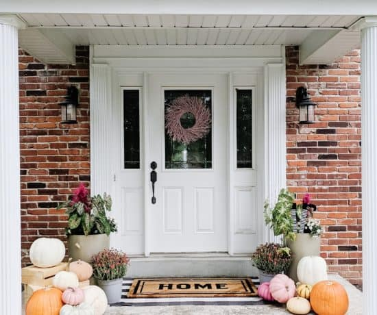 pink fall front porch