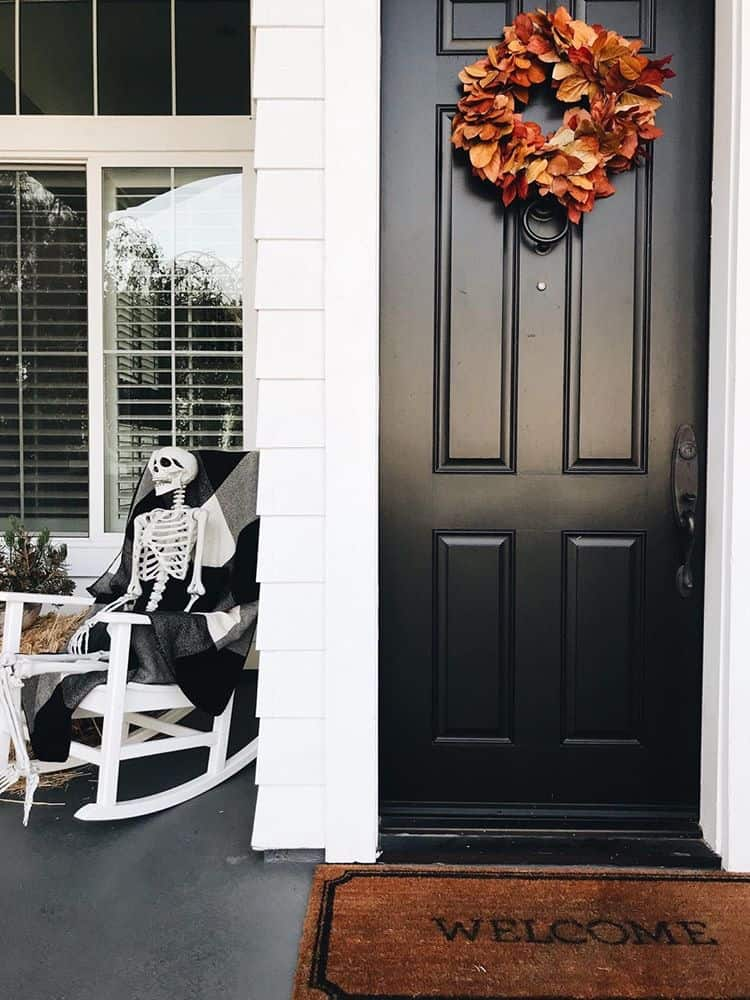 black fall front porch
