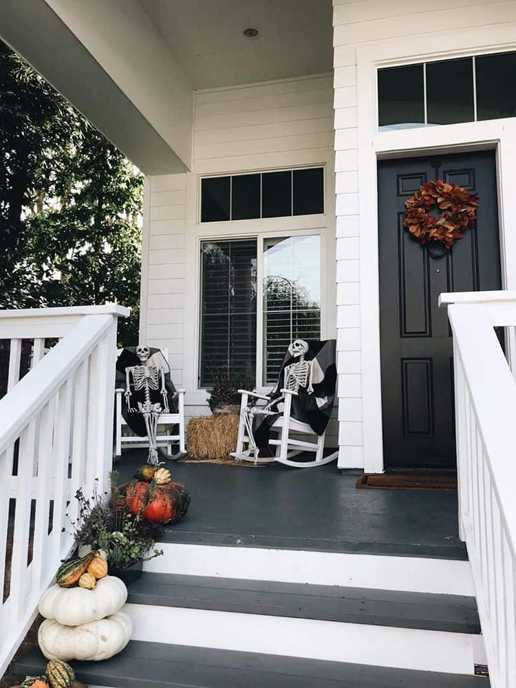 Spooky black fall front porch