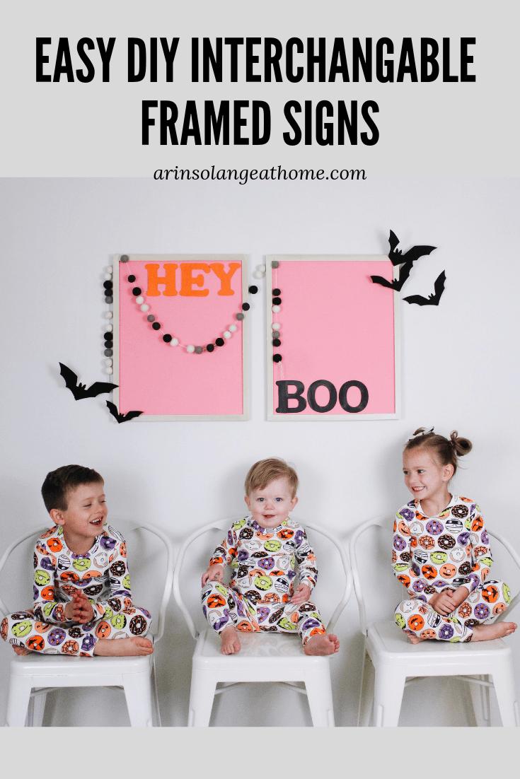 DIY framed sign kids in halloween PJS