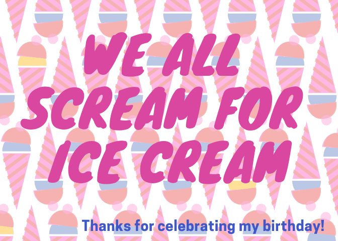 Ice cream birthday treat printable