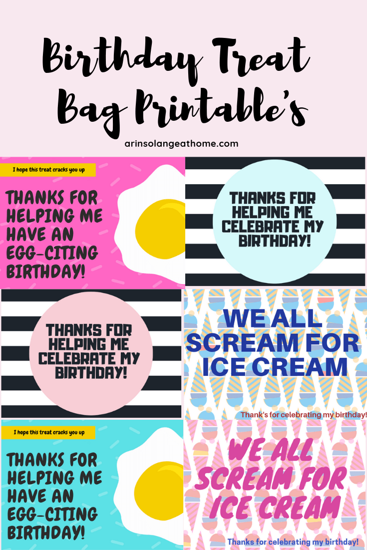 Free birthday treat bag printable's