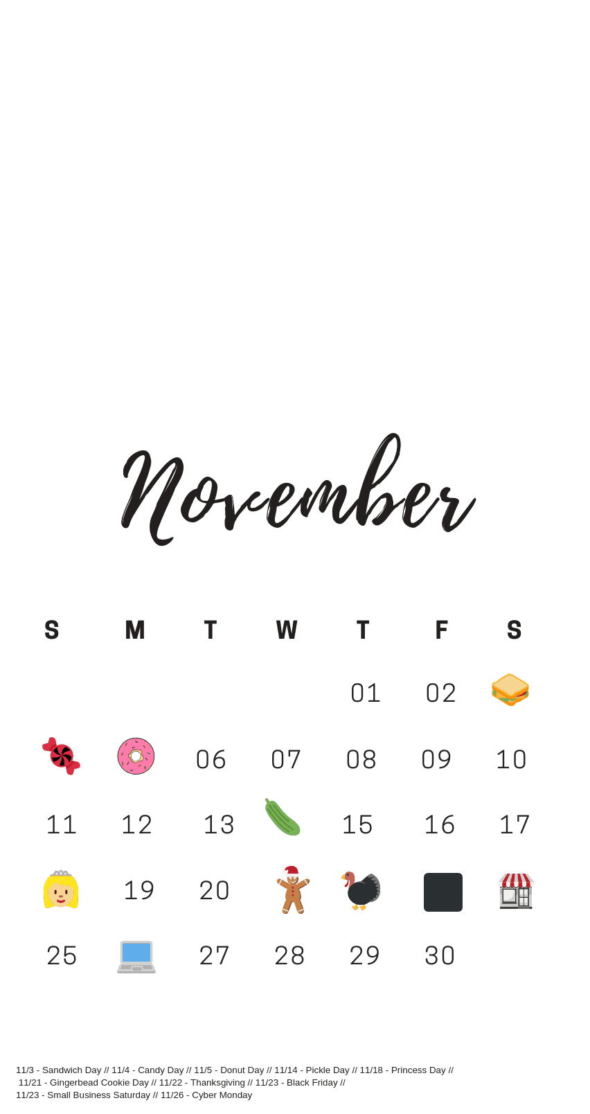 November National Days Calendar