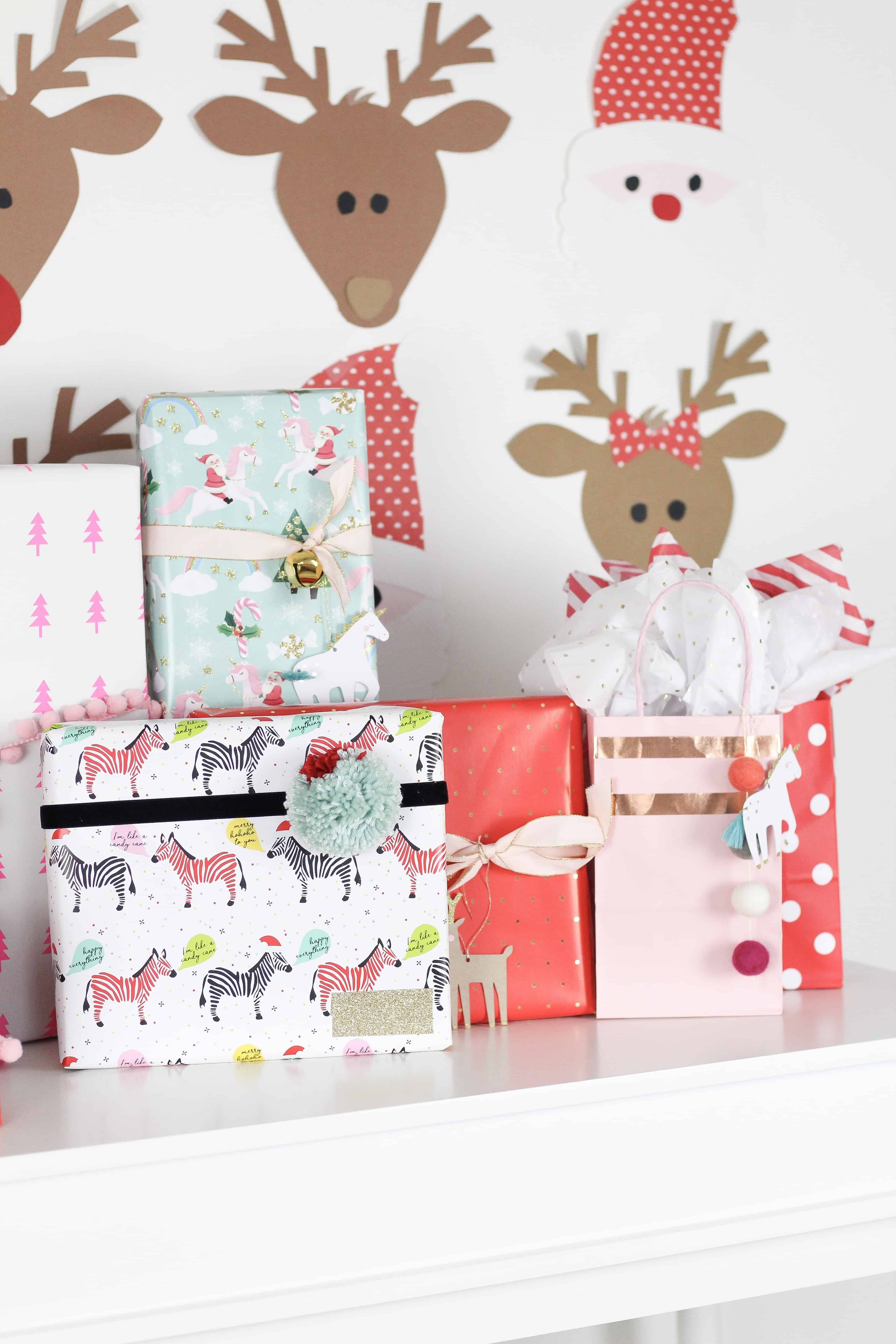 merry and bright wrapped presents