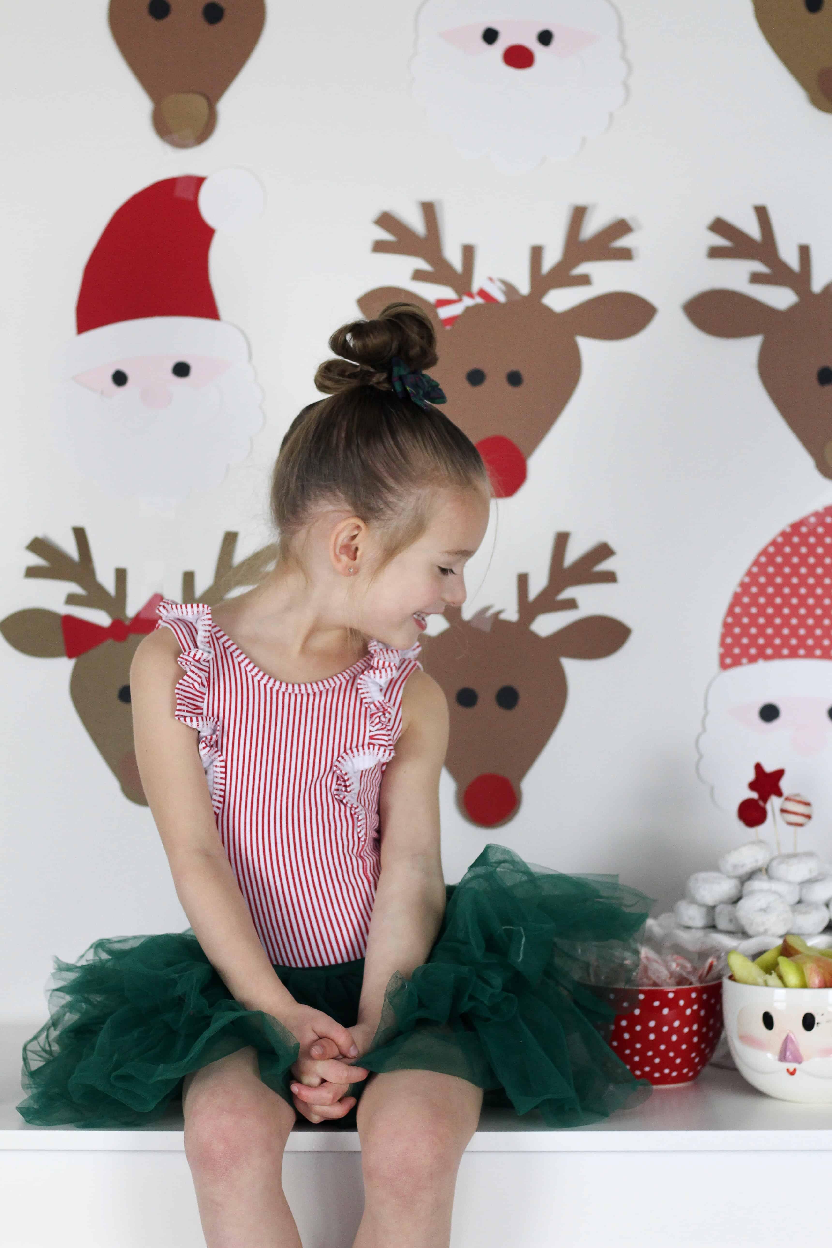 Little girl at Christmas brunch
