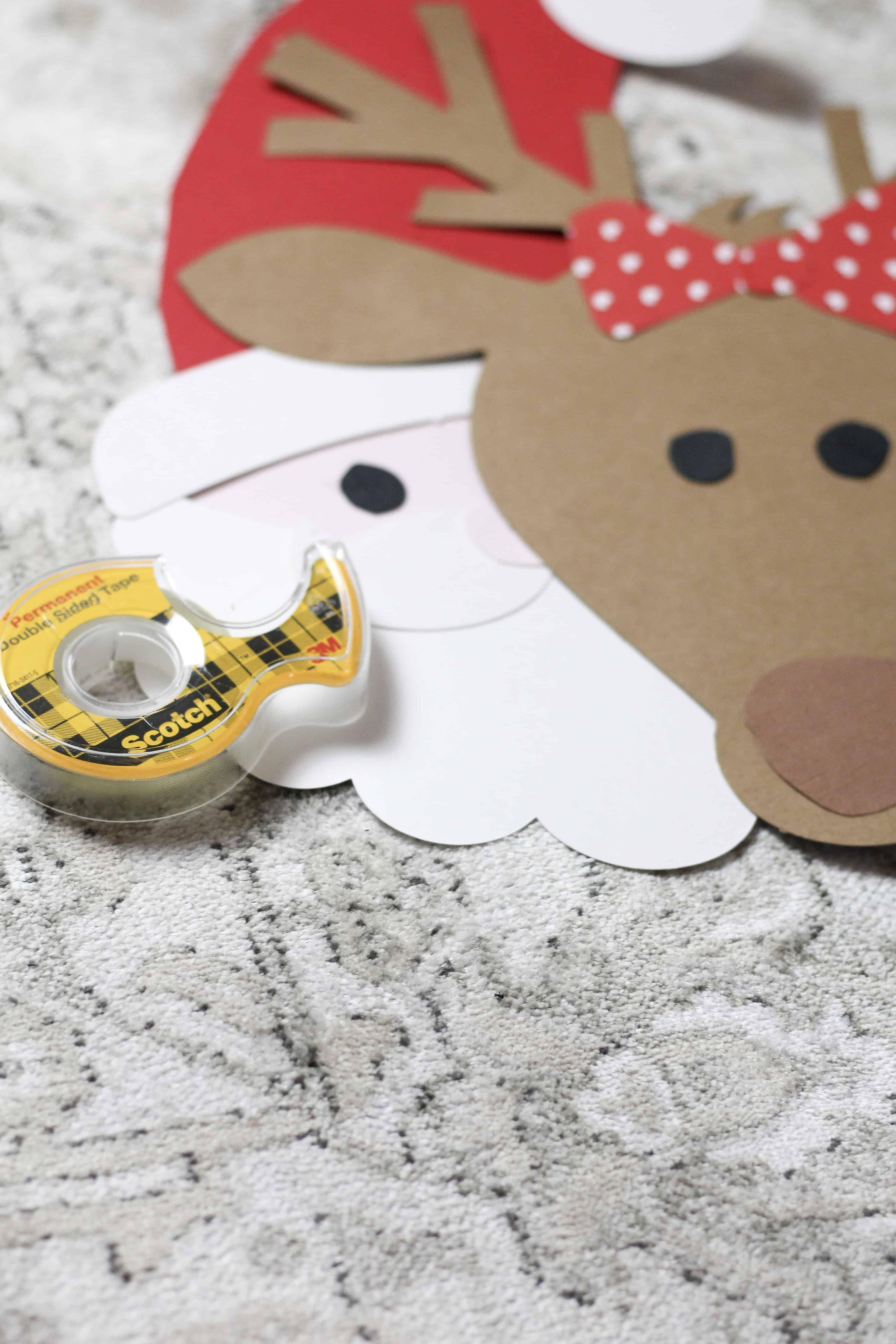 making Santa and reindeer backdrop