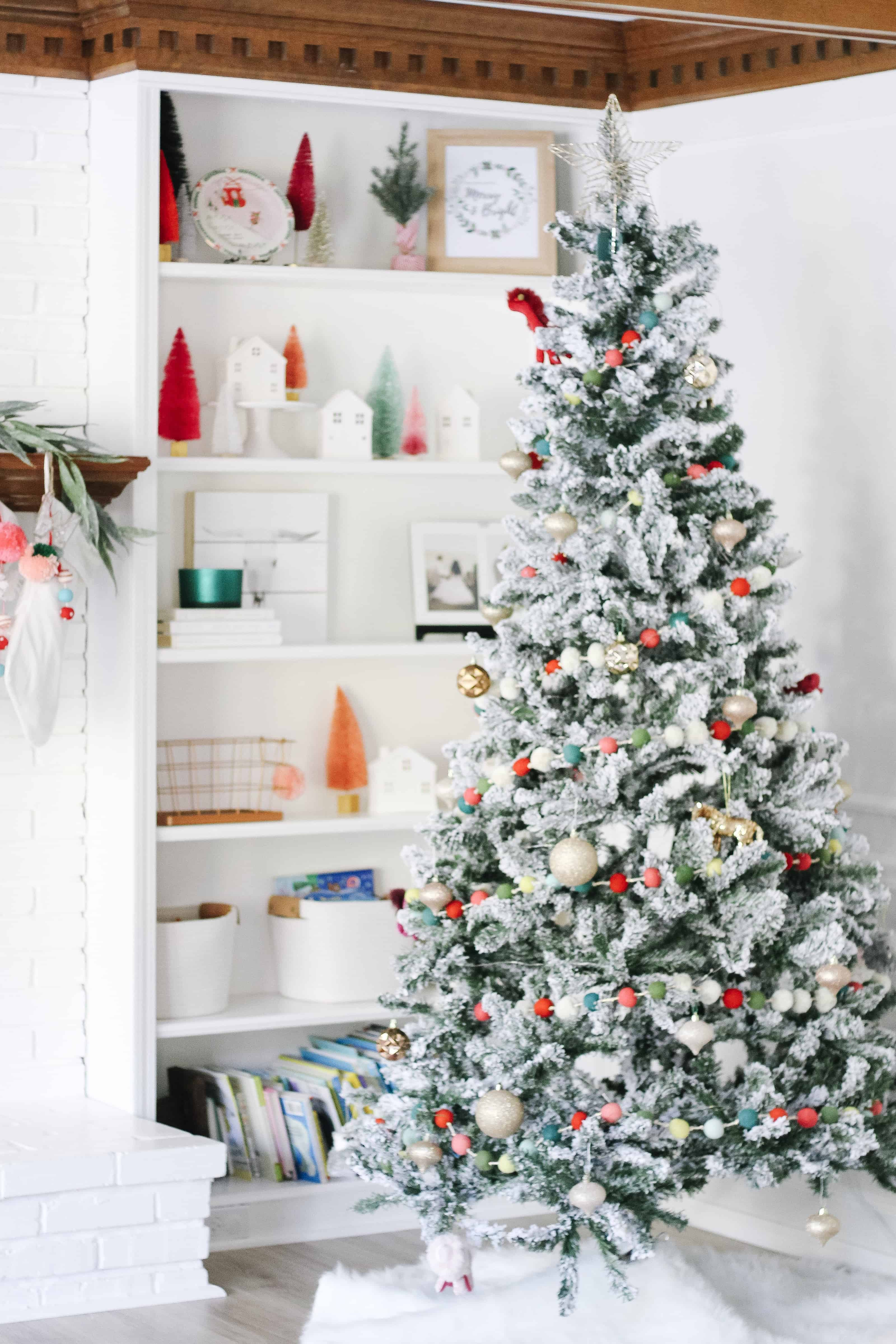 Colorful Christmas tree and built ins