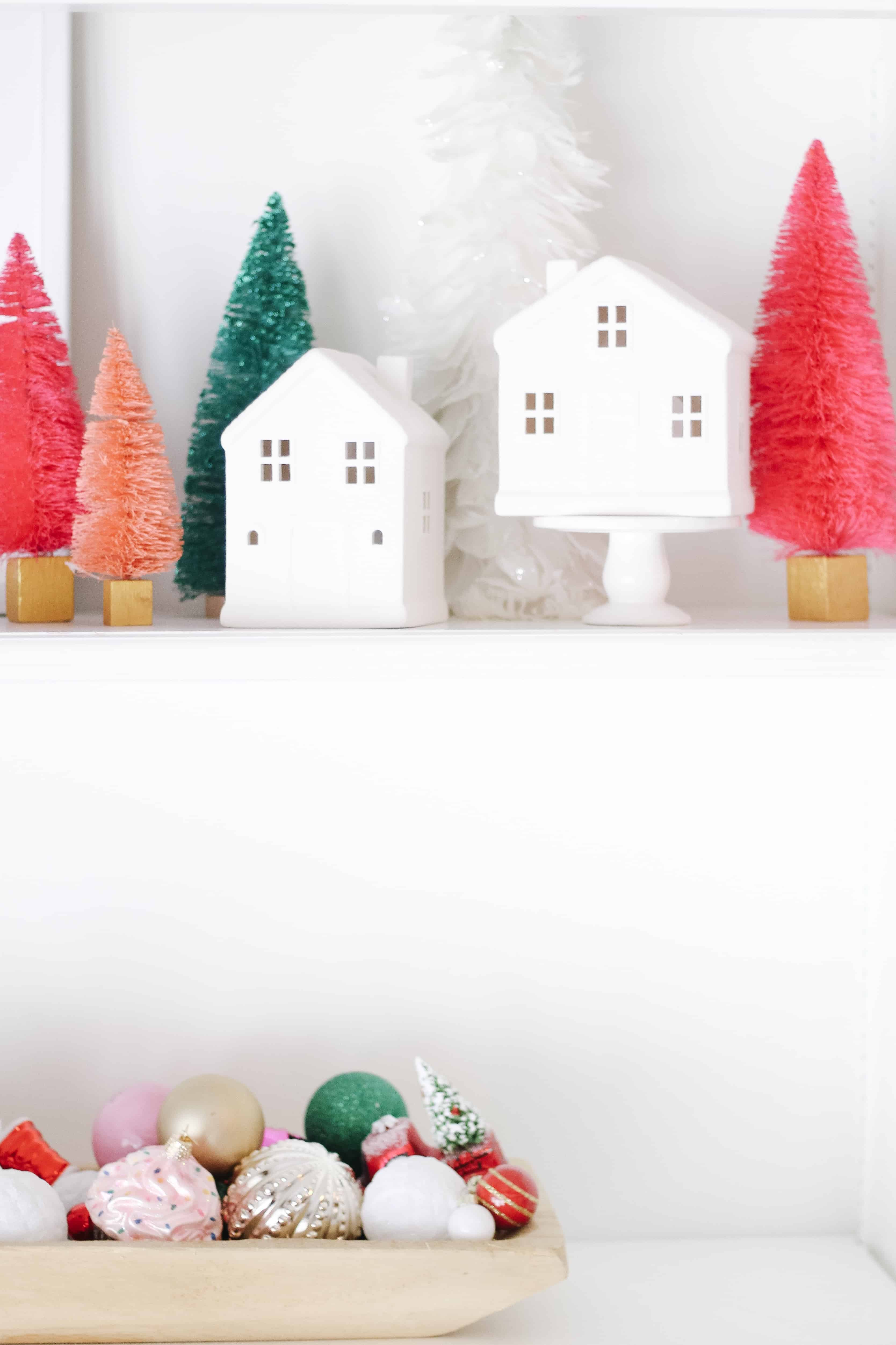 Merry and Bright built in shelving decor