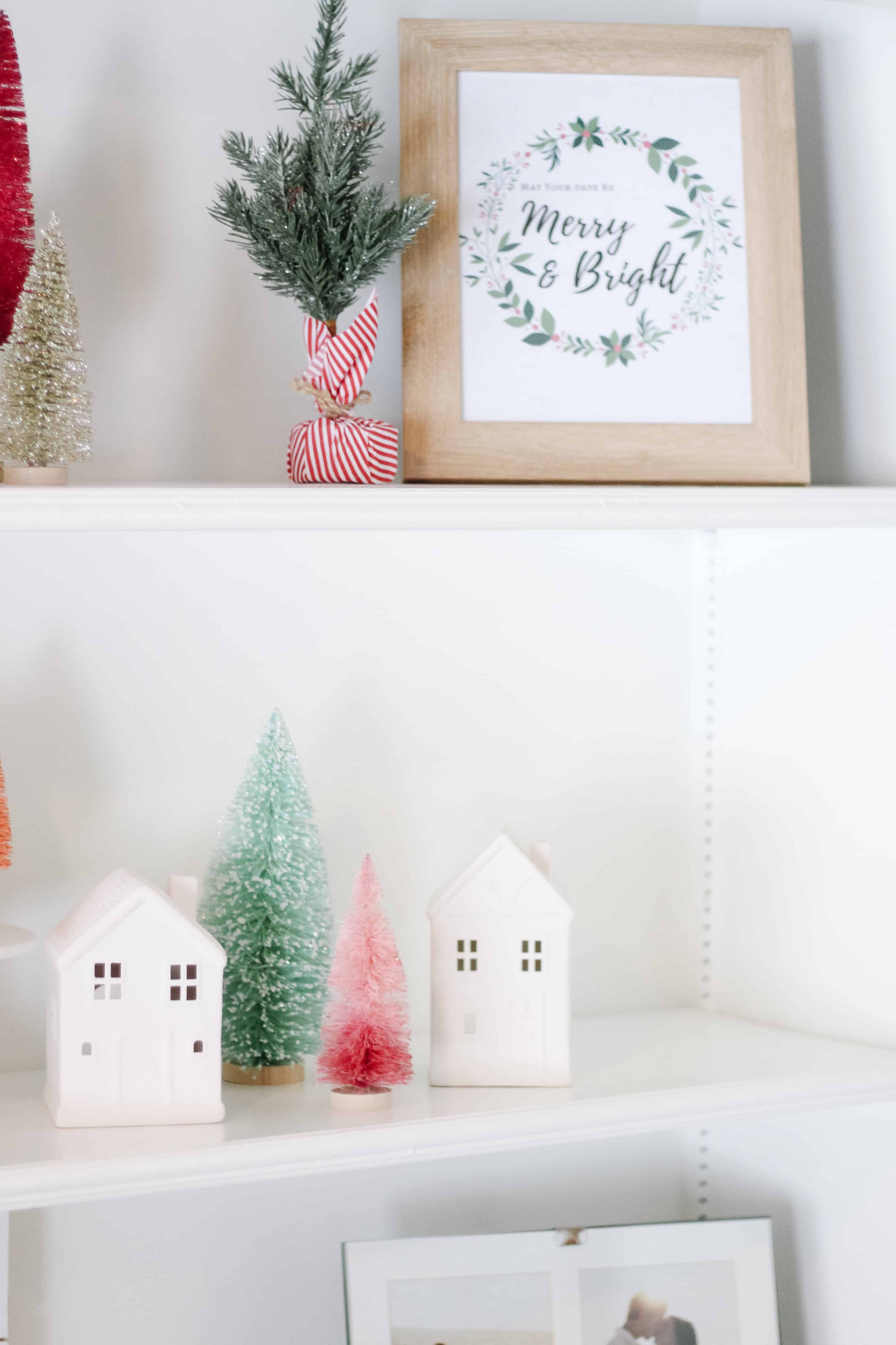 Bright Christmas decor shelves