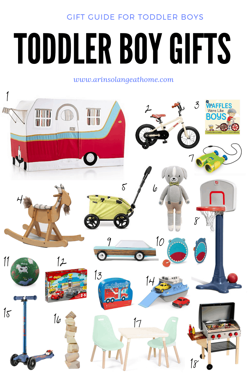 collage of gifts for toddler boy