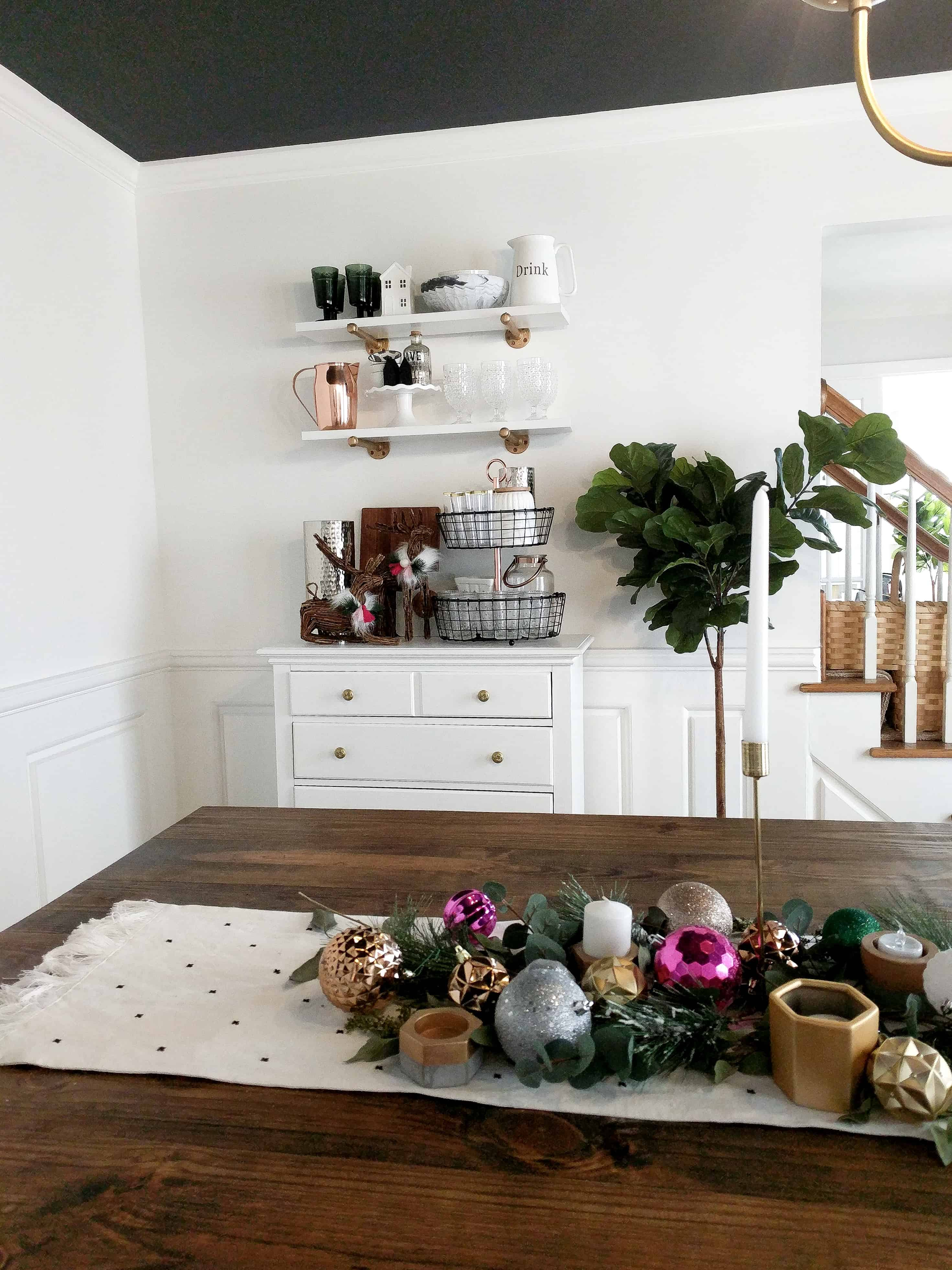 Pink dining room Christmas decor
