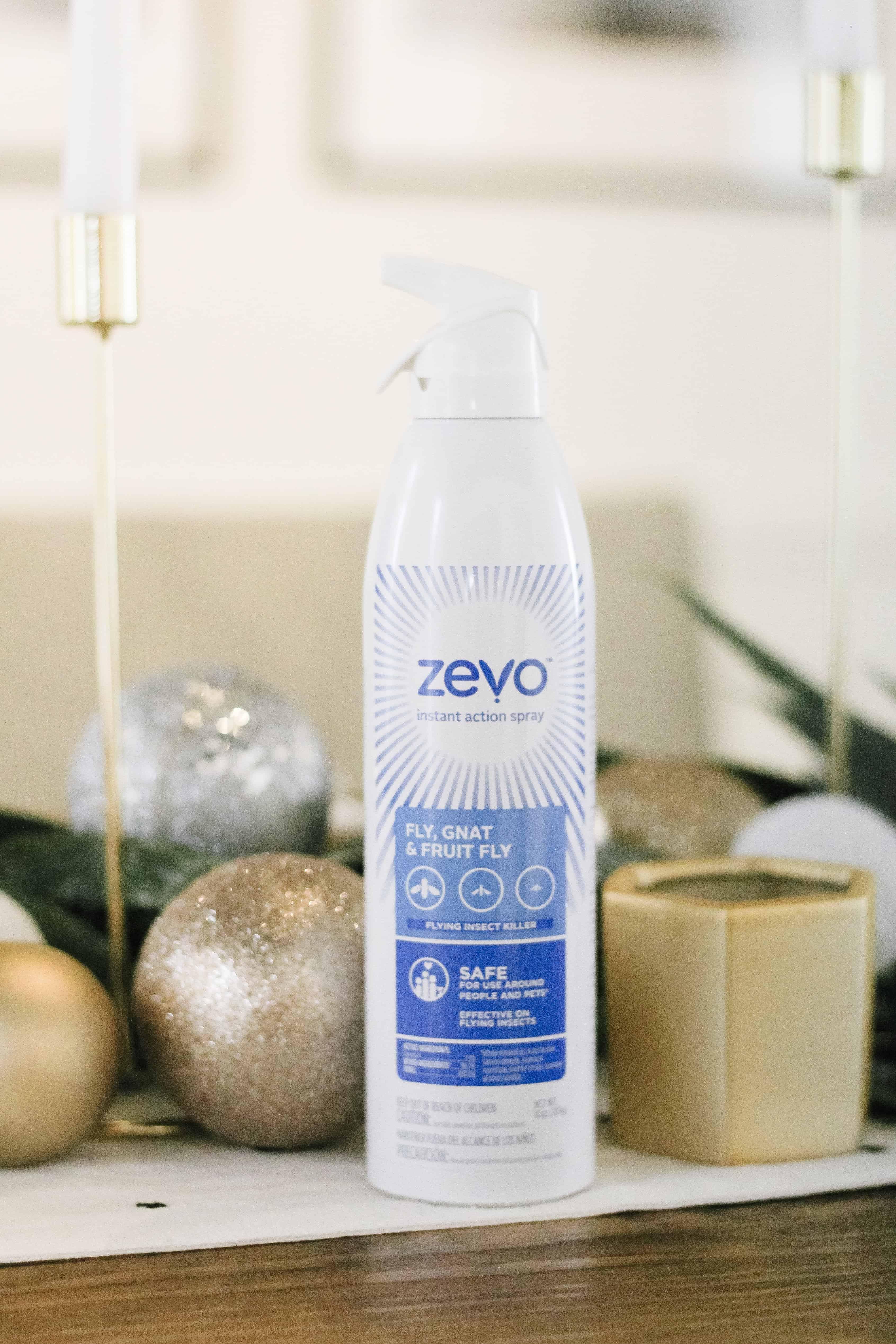 bottle of Zevo Bug spray on a table