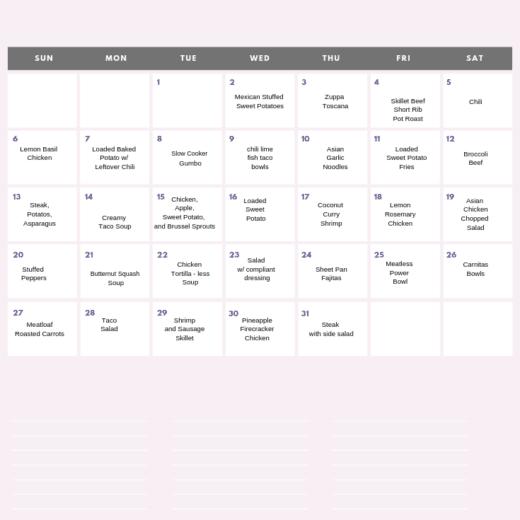 free printable whole 30 calendar
