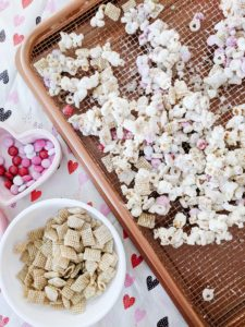 Easy Toddler Valentine's Day snack Drying on baking sheet