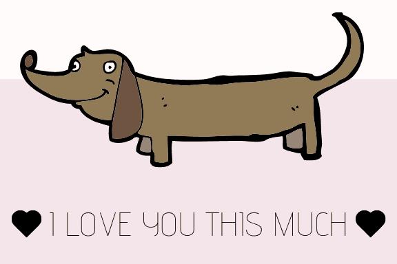 Free printable Weiner dog Valentine