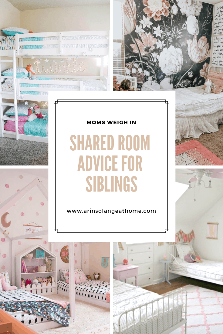 Shared room advice for siblings graphic with kids room photos