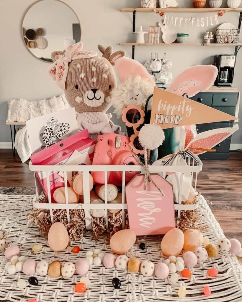 Easter basket with cuddle and kind dolls