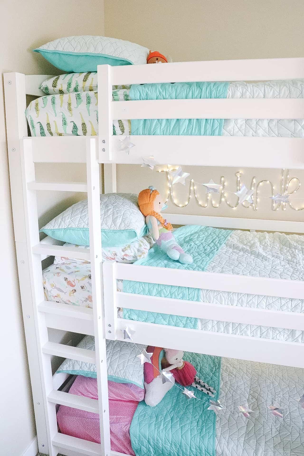 Triple bunk bed kids room