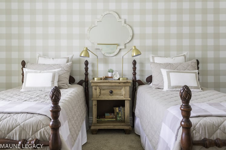 tan gingham walls boys shared room with two twin beds