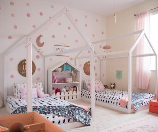 Montessori house floor beds in colorful room