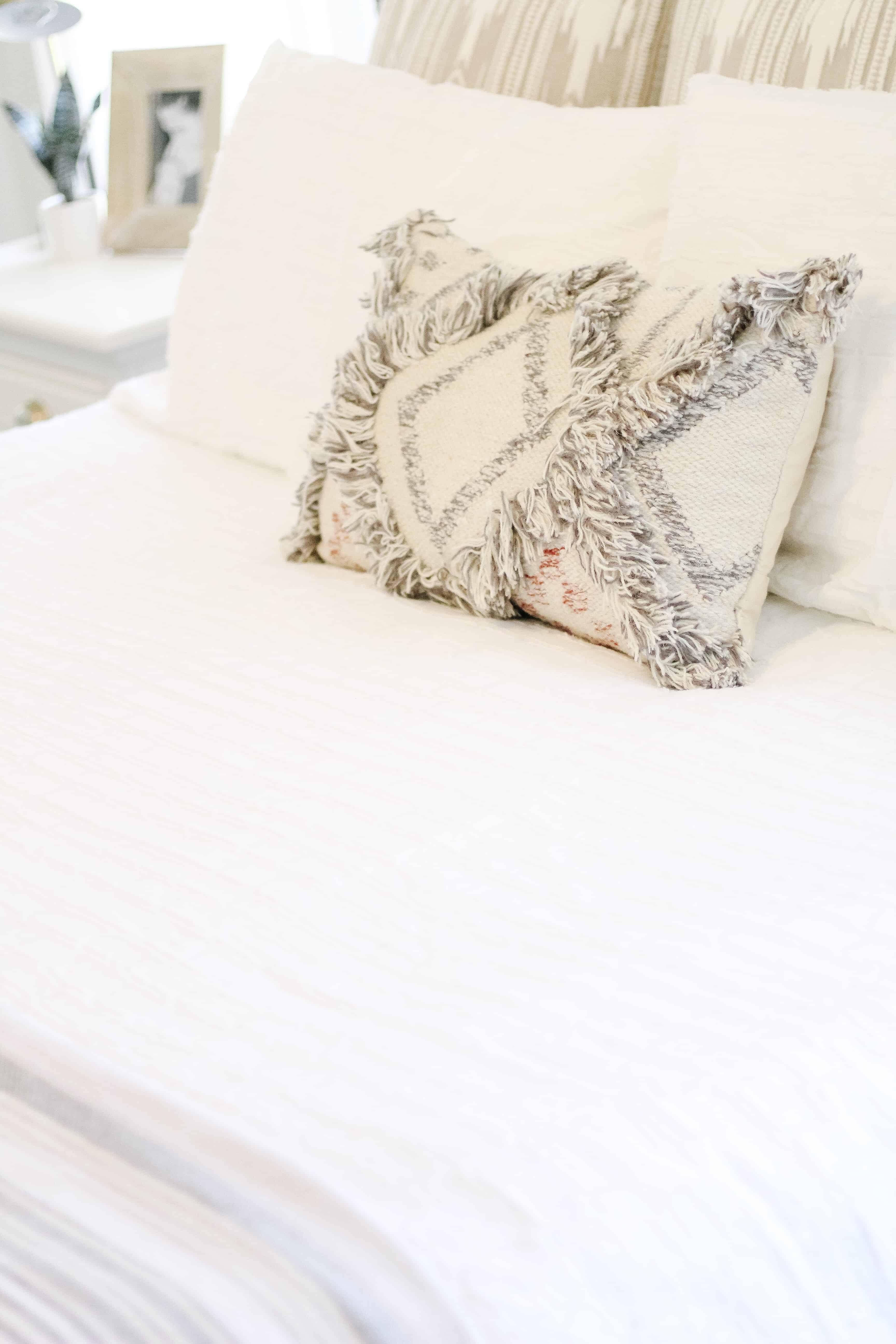 Neutral master bedroom bedding