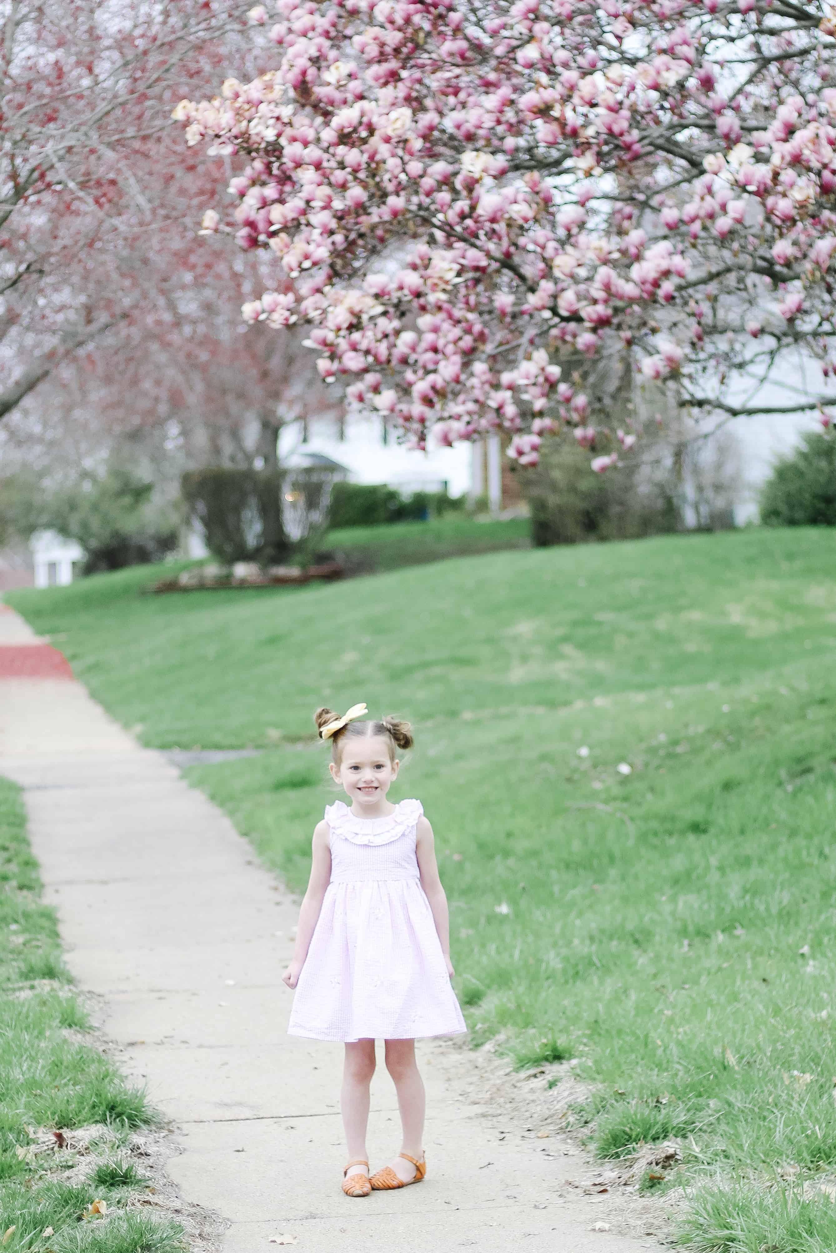 Toddler Girl in pink seersucker dress