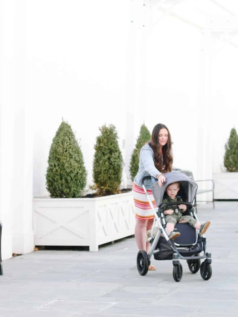 mom and son with Uppa Baby Stroller