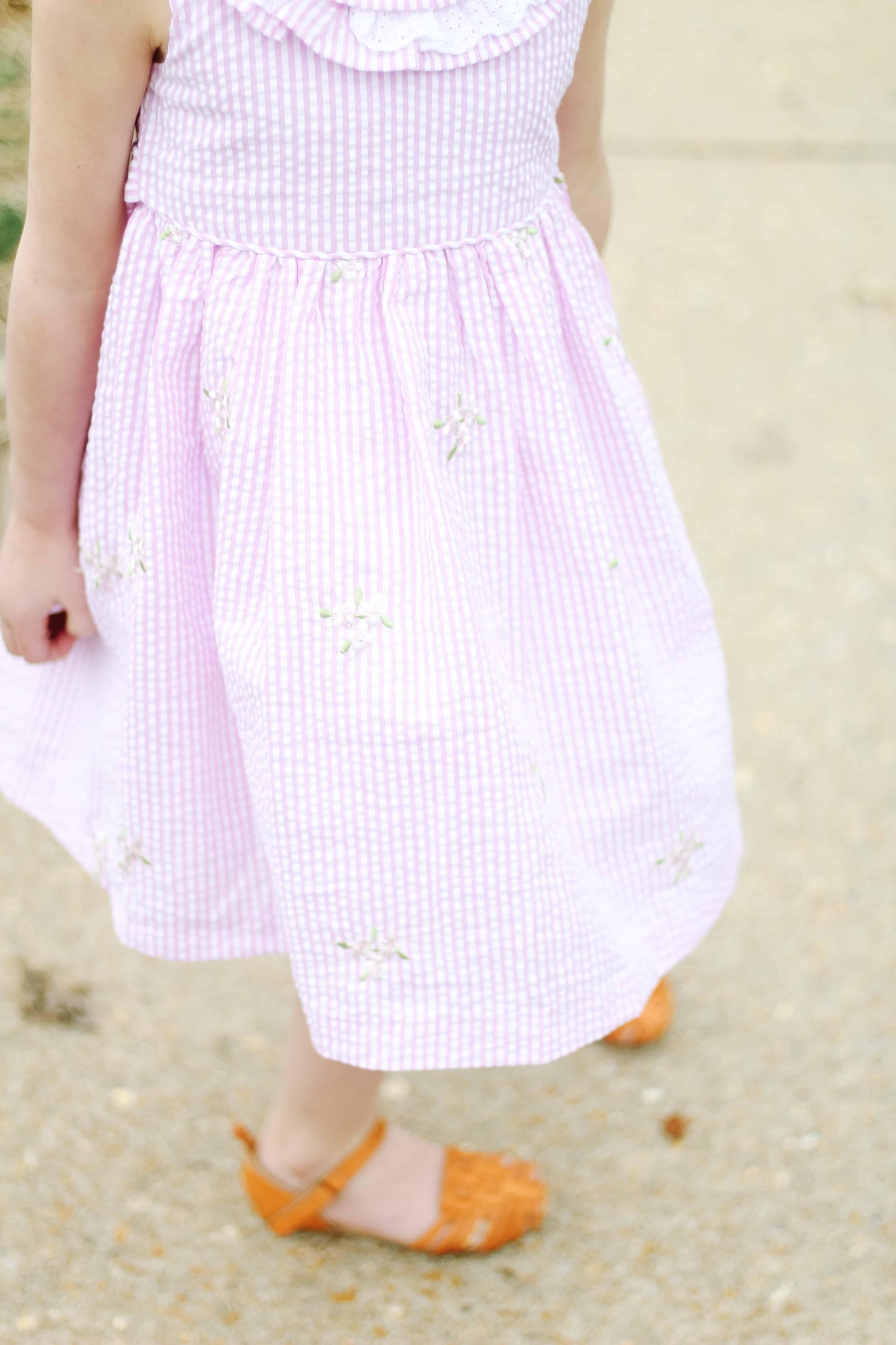 Pink floral seersucker dress for girl