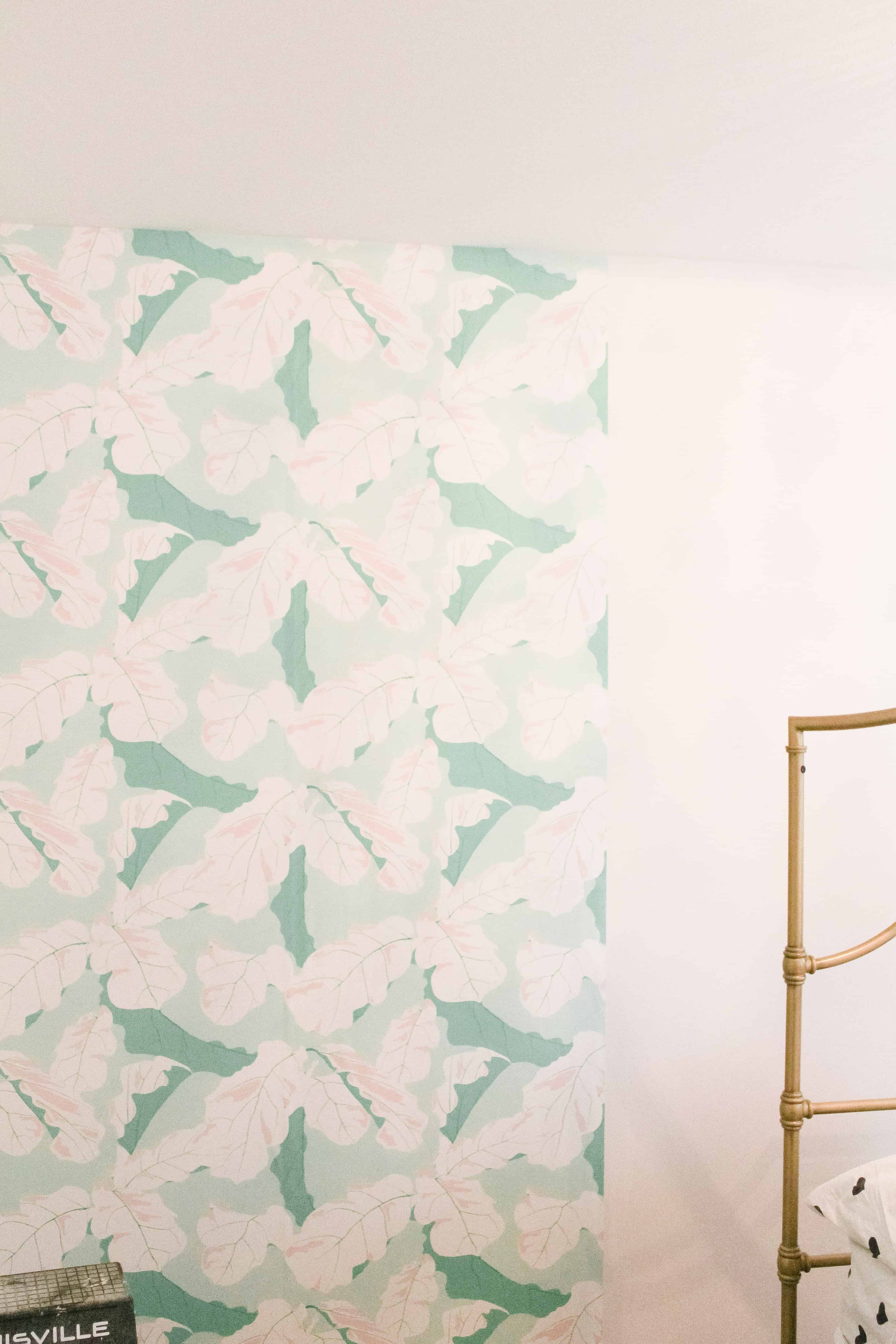 wall with half hung Spoonflower wallpaper