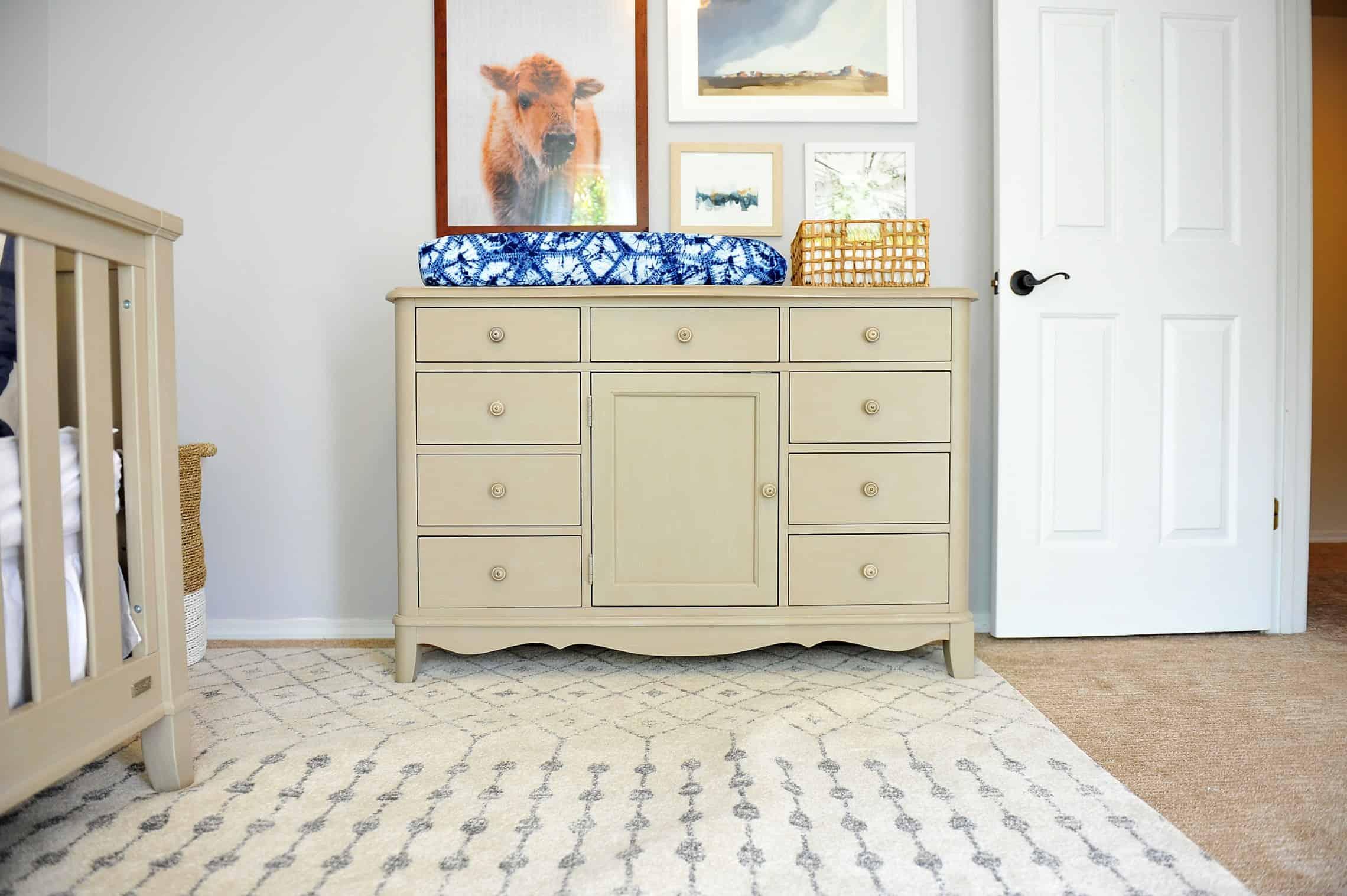 boys nursery dresser and changing mat