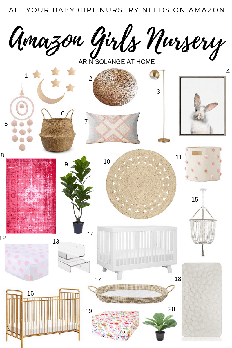 A round up of Amazon Girl's Nursery Decor - arinsolangeathome.com
