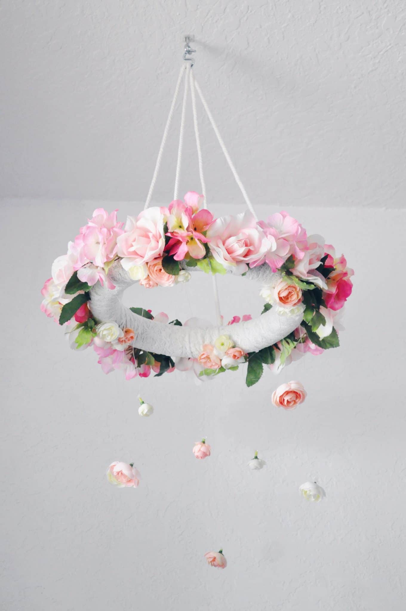 DIY hanging flower mobile in nursery
