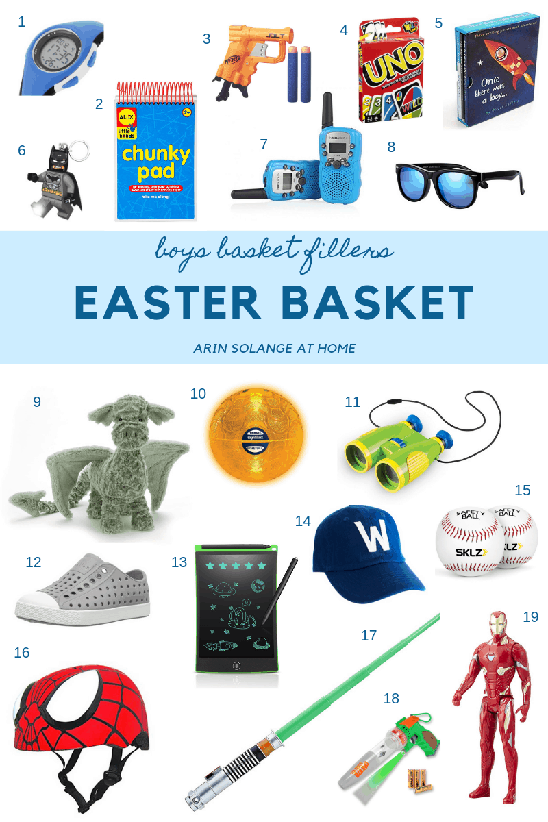 round up of easy boy's Easter basket ideas