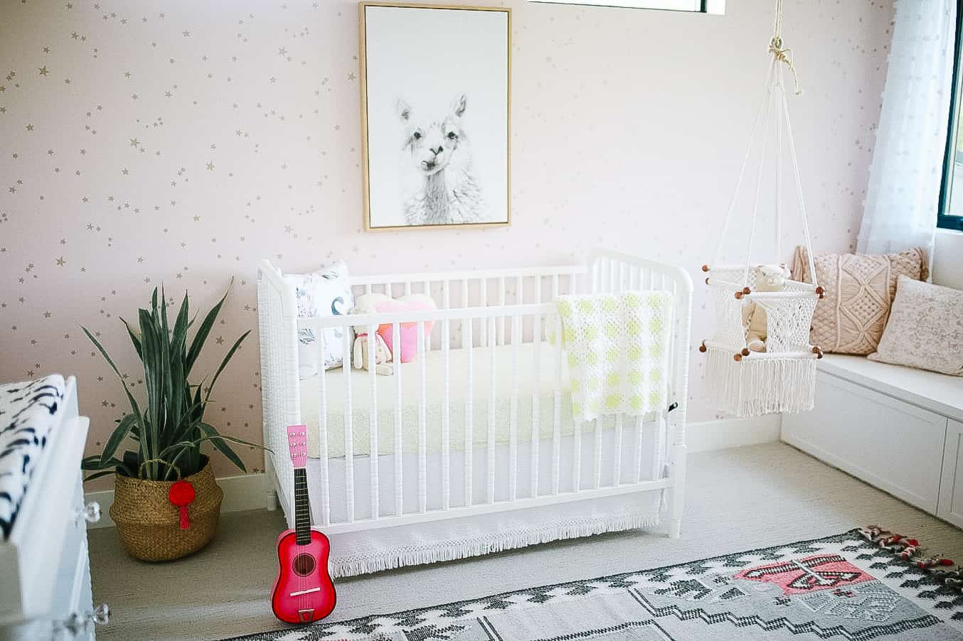 pink and gold boho chic girls nursery