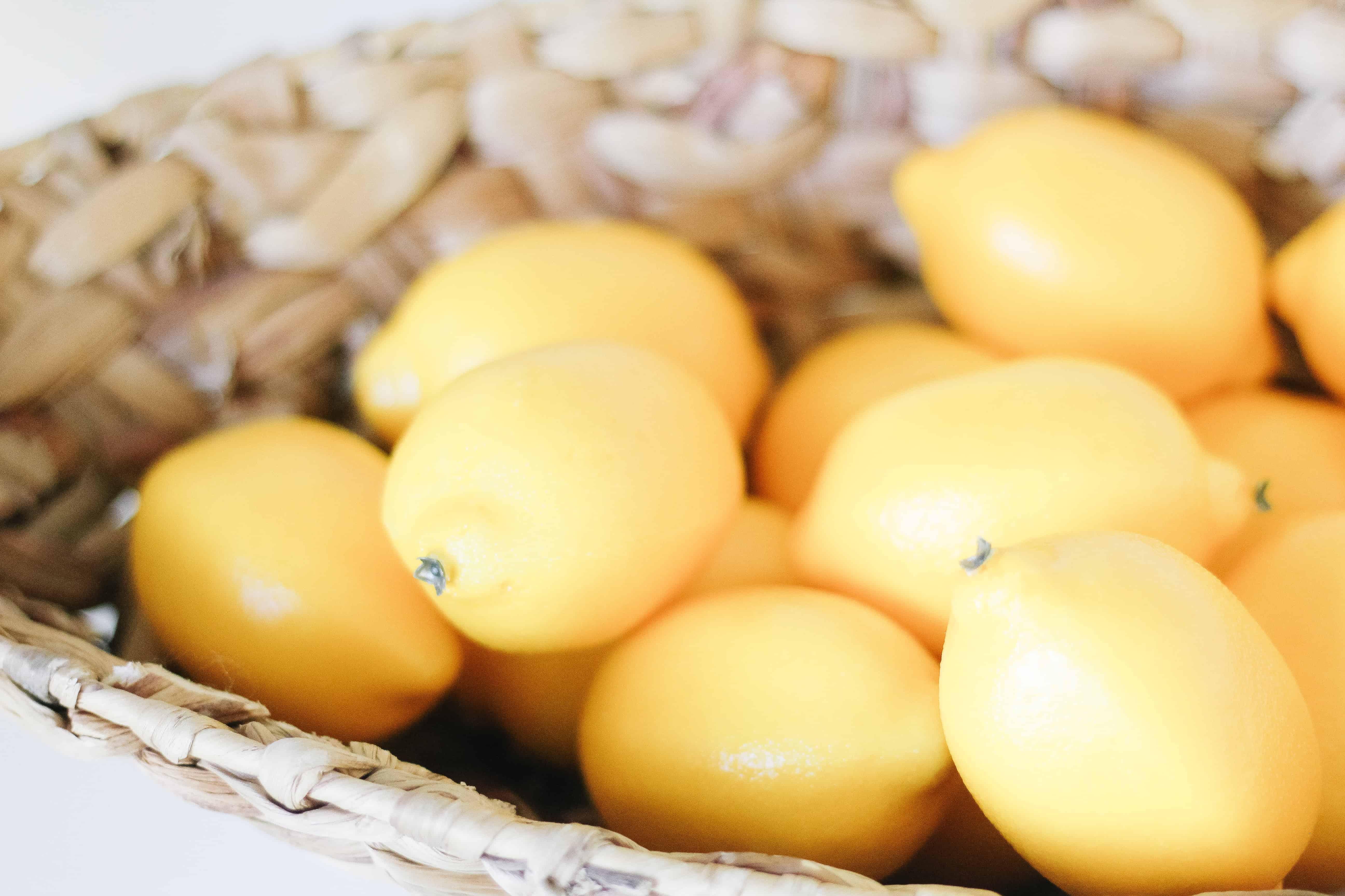 lemons in wicker bowl