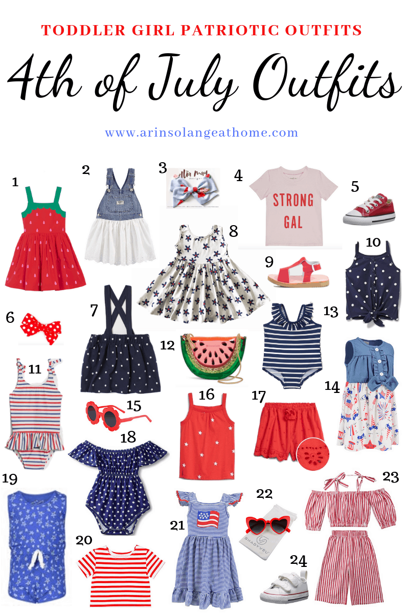 roundup of toddler girl 4th of July outfits