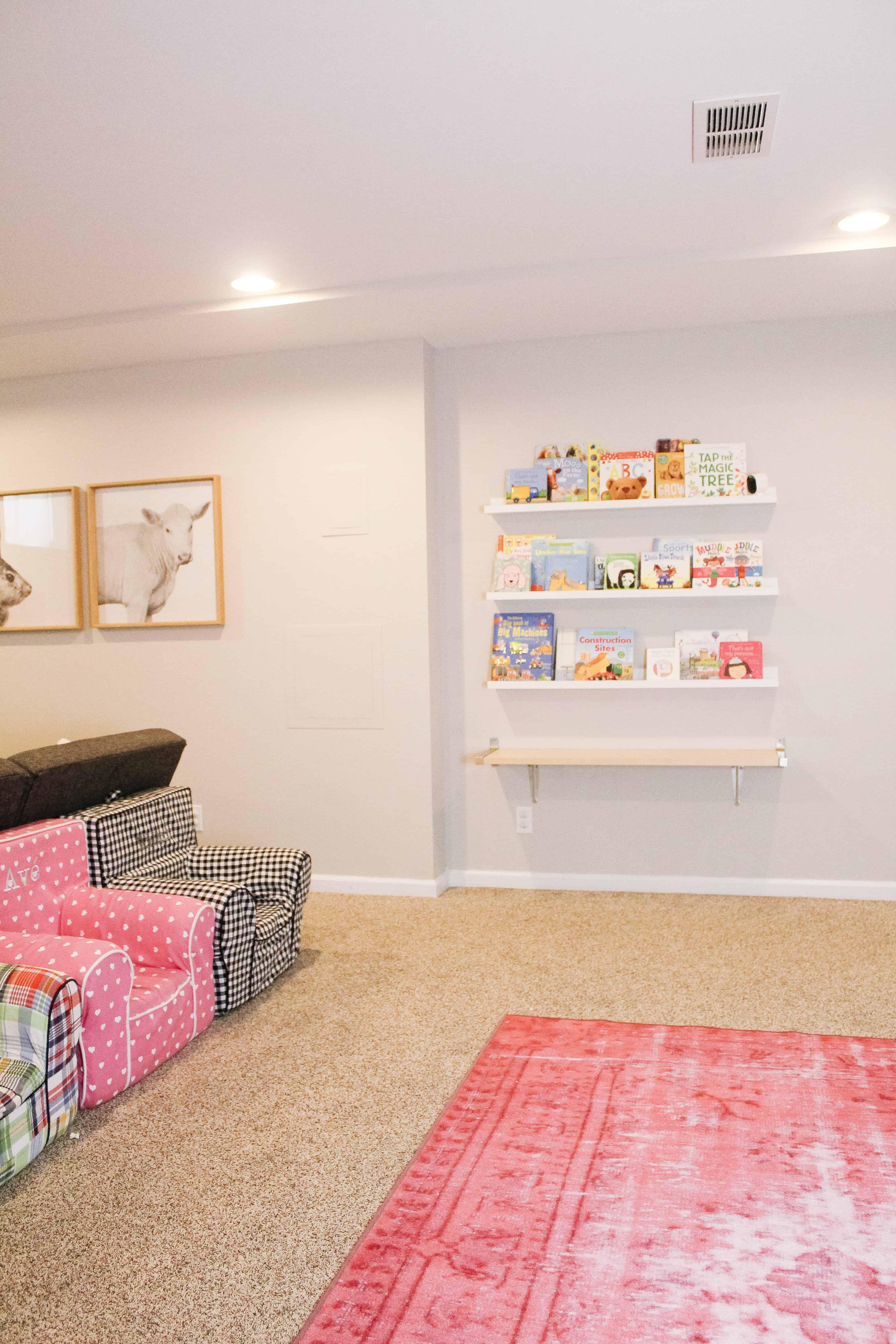 Basement playroom with Ikea bookshelves
