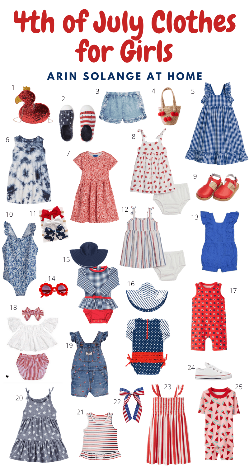round up of toddler girl 4th of July outfits