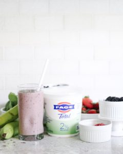 FAGE yogurt with smoothie and all the other ingredients