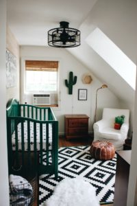 nursery with cactus and green crib