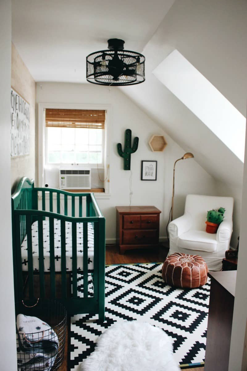 nursery with cactus and green crib