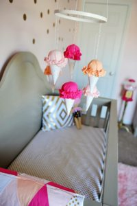 Girls Nursery with hanging ice-cream cone mobile