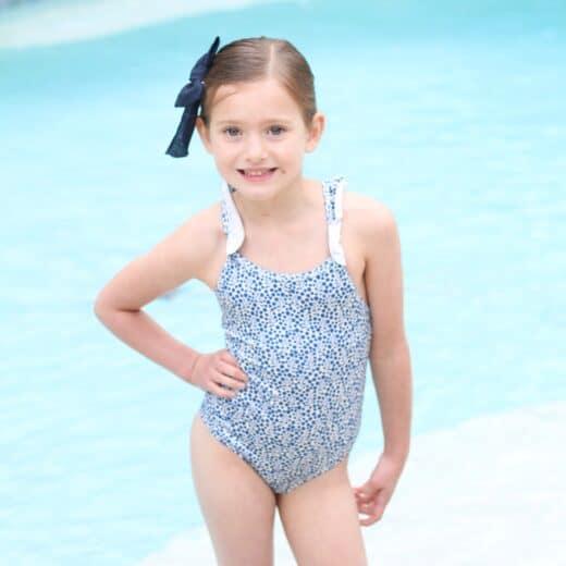 Little girl in blue floral dress