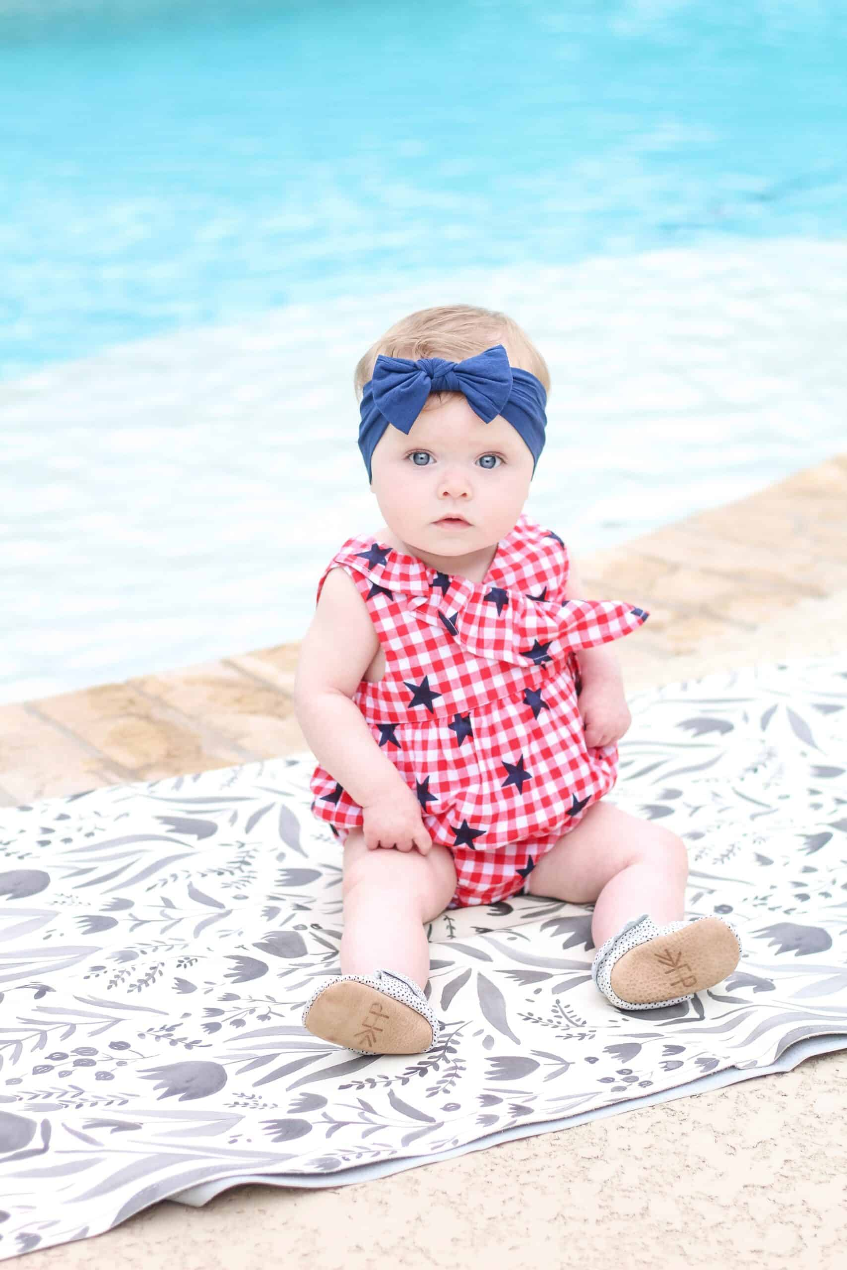 baby girl in patriotic outfit